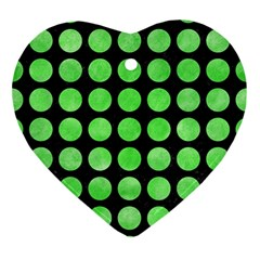 Circles1 Black Marble & Green Watercolor Ornament (heart) by trendistuff