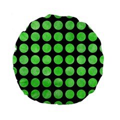 Circles1 Black Marble & Green Watercolor Standard 15  Premium Flano Round Cushions by trendistuff