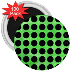 Circles1 Black Marble & Green Watercolor (r) 3  Magnets (100 Pack) by trendistuff