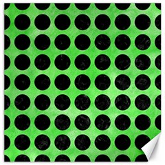 Circles1 Black Marble & Green Watercolor (r) Canvas 16  X 16   by trendistuff
