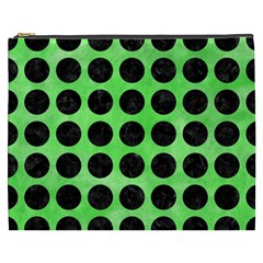 Circles1 Black Marble & Green Watercolor (r) Cosmetic Bag (xxxl)  by trendistuff