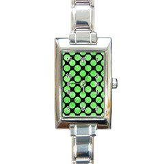 Circles2 Black Marble & Green Watercolor Rectangle Italian Charm Watch by trendistuff