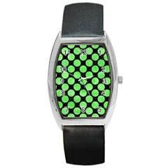 Circles2 Black Marble & Green Watercolor Barrel Style Metal Watch