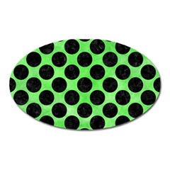 Circles2 Black Marble & Green Watercolor (r) Oval Magnet by trendistuff