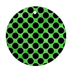 Circles2 Black Marble & Green Watercolor (r) Round Ornament (two Sides) by trendistuff