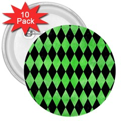 Diamond1 Black Marble & Green Watercolor 3  Buttons (10 Pack)  by trendistuff