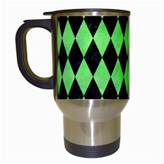 Diamond1 Black Marble & Green Watercolor Travel Mugs (white) by trendistuff
