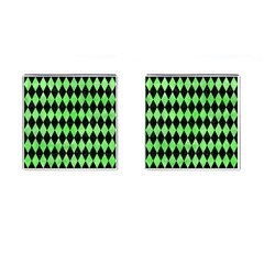 Diamond1 Black Marble & Green Watercolor Cufflinks (square) by trendistuff