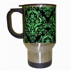 Damask1 Black Marble & Green Watercolor Travel Mugs (white) by trendistuff