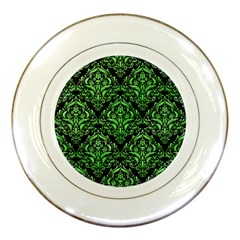 Damask1 Black Marble & Green Watercolor Porcelain Plates