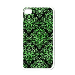 Damask1 Black Marble & Green Watercolor Apple Iphone 4 Case (white) by trendistuff
