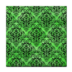 Damask1 Black Marble & Green Watercolor (r) Tile Coasters