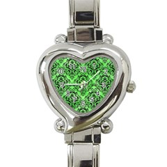 Damask1 Black Marble & Green Watercolor (r) Heart Italian Charm Watch by trendistuff
