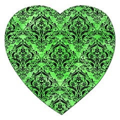 Damask1 Black Marble & Green Watercolor (r) Jigsaw Puzzle (heart) by trendistuff