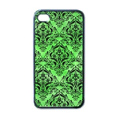 Damask1 Black Marble & Green Watercolor (r) Apple Iphone 4 Case (black) by trendistuff