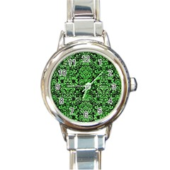 Damask2 Black Marble & Green Watercolor Round Italian Charm Watch by trendistuff