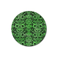 Damask2 Black Marble & Green Watercolor Magnet 3  (round) by trendistuff