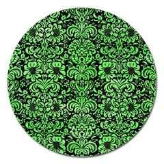 Damask2 Black Marble & Green Watercolor Magnet 5  (round) by trendistuff