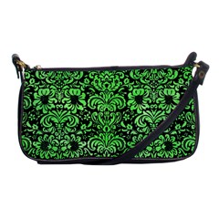 Damask2 Black Marble & Green Watercolor Shoulder Clutch Bags by trendistuff