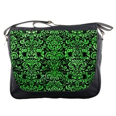 Damask2 Black Marble & Green Watercolor Messenger Bags by trendistuff