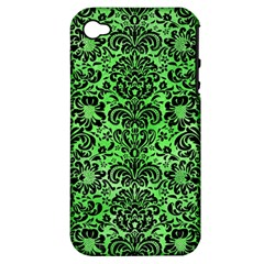 Damask2 Black Marble & Green Watercolor (r) Apple Iphone 4/4s Hardshell Case (pc+silicone)