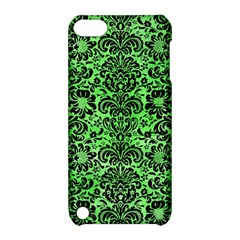 Damask2 Black Marble & Green Watercolor (r) Apple Ipod Touch 5 Hardshell Case With Stand by trendistuff
