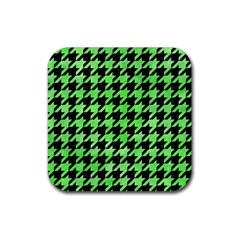 Houndstooth1 Black Marble & Green Watercolor Rubber Square Coaster (4 Pack)  by trendistuff