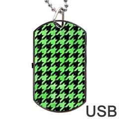 Houndstooth1 Black Marble & Green Watercolor Dog Tag Usb Flash (one Side)