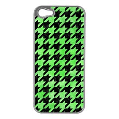 Houndstooth1 Black Marble & Green Watercolor Apple Iphone 5 Case (silver) by trendistuff
