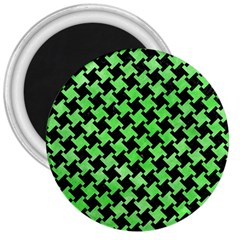 Houndstooth2 Black Marble & Green Watercolor 3  Magnets by trendistuff