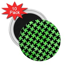 Houndstooth2 Black Marble & Green Watercolor 2 25  Magnets (10 Pack)  by trendistuff