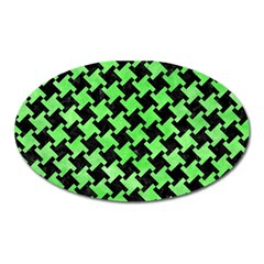 Houndstooth2 Black Marble & Green Watercolor Oval Magnet by trendistuff