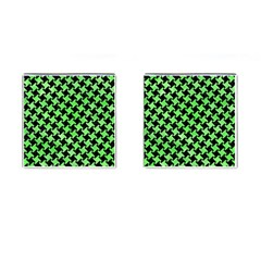 Houndstooth2 Black Marble & Green Watercolor Cufflinks (square) by trendistuff