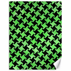 Houndstooth2 Black Marble & Green Watercolor Canvas 18  X 24
