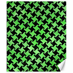 Houndstooth2 Black Marble & Green Watercolor Canvas 20  X 24   by trendistuff