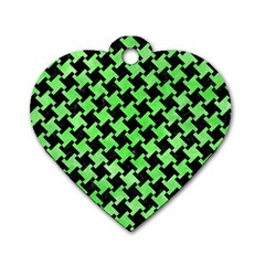 Houndstooth2 Black Marble & Green Watercolor Dog Tag Heart (two Sides) by trendistuff