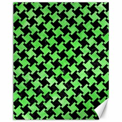 Houndstooth2 Black Marble & Green Watercolor Canvas 11  X 14