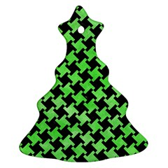 Houndstooth2 Black Marble & Green Watercolor Ornament (christmas Tree)  by trendistuff