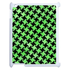 Houndstooth2 Black Marble & Green Watercolor Apple Ipad 2 Case (white) by trendistuff