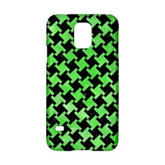 Houndstooth2 Black Marble & Green Watercolor Samsung Galaxy S5 Hardshell Case  by trendistuff