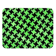 Houndstooth2 Black Marble & Green Watercolor Double Sided Flano Blanket (large)  by trendistuff