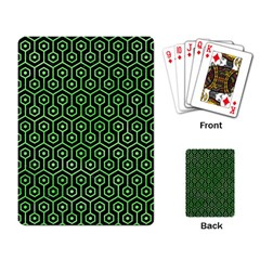 Hexagon1 Black Marble & Green Watercolor Playing Card by trendistuff