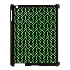 Hexagon1 Black Marble & Green Watercolor Apple Ipad 3/4 Case (black) by trendistuff