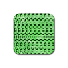 Hexagon1 Black Marble & Green Watercolor (r) Rubber Square Coaster (4 Pack)  by trendistuff