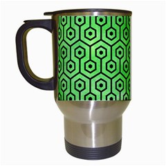 Hexagon1 Black Marble & Green Watercolor (r) Travel Mugs (white) by trendistuff
