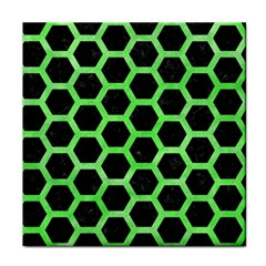 Hexagon2 Black Marble & Green Watercolor Tile Coasters by trendistuff