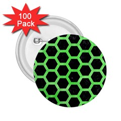 Hexagon2 Black Marble & Green Watercolor 2 25  Buttons (100 Pack)