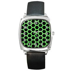 Hexagon2 Black Marble & Green Watercolor Square Metal Watch by trendistuff