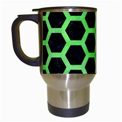 Hexagon2 Black Marble & Green Watercolor Travel Mugs (white) by trendistuff