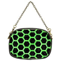 Hexagon2 Black Marble & Green Watercolor Chain Purses (one Side)  by trendistuff